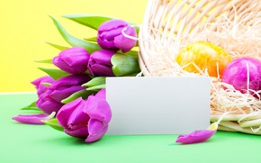 Wallpaper flowers, holiday, eggs, spring, Easter, tulips, lilac, Easter