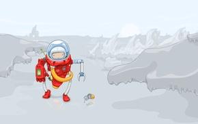 Wallpaper vector, fiction, planet, robot