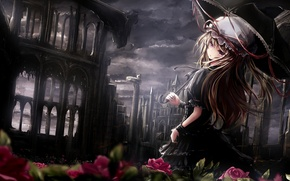 Picture girl, flowers, the darkness, umbrella, Touhou, Strikingly Is Wait
