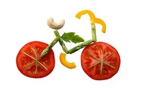 Picture bike, minimalism, vegetables, tomatoes, applique