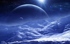 Wallpaper surface, planet, snow, QAuZ, art, satellite, space, stars