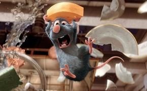 Wallpaper cartoon, Ratatouille, mouse, broken plates