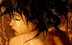 Picture face, shoulders, art, closed eyes, Satoshi Kon