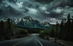 Picture road, forest, trees, nature, mountain, Canada