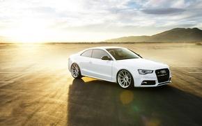 Picture car, white, sun, vorsteiner, audi s5