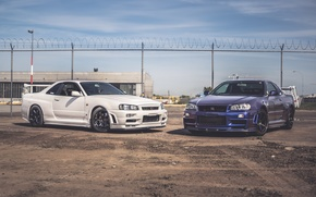 Picture nissan, white, skyline, blue, gtr, &