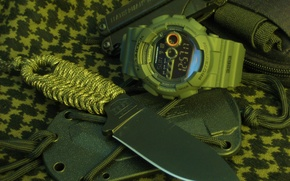 Wallpaper braid, knife, sheath, watch, multitool, cord