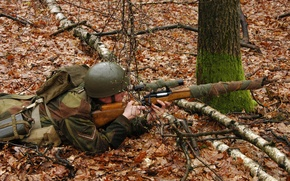 Wallpaper autumn, forest, leaves, soldiers, optics, sniper, helmet, sniper rifle
