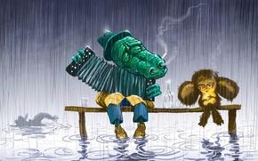 Picture sadness, cartoon, 158, Cheburashka, crocodile Gena