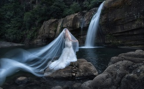 Picture girl, nature, style, mood, waterfall, Asian, the bride, veil, wedding dress