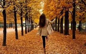 Picture autumn, girl, trees, Park, foliage, falling leaves