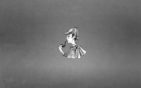 Picture hat, tube, minimalism, cloak, Sherlock Holmes, black-and-white background, Sherlock Holmes, Arthur Conan Doyle, Arthur Ignatius ...