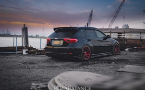 Picture red, subaru, black, japan, wrx, impreza, jdm, tuning, sti, low, stance