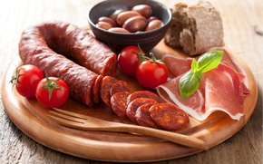 Picture photo, Tomatoes, Food, products, Sausage, Meat, Ham