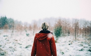 Picture girl, forest, snow, morning, sunrise, snowy, woodland, snowing