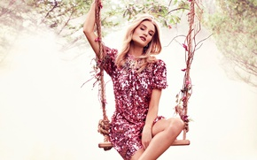 Picture pose, swing, model, dress, actress, hairstyle, blonde, photoshoot, Rosie Huntington-Whiteley, Rosie Huntington-Whiteley, Harper's Bazaar, Alexi …