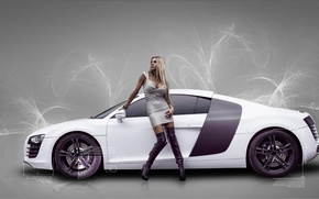 Picture girl, background, Audi, Girls, white car
