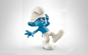 Picture cartoon, leather, cap, blue, character, the Smurfs, the smurfs