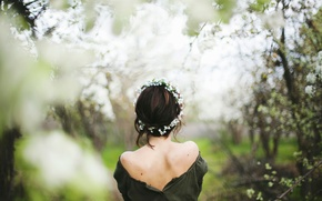 Picture girl, spring, flowering, wreath, Spring is here
