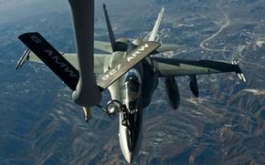 Picture flight, landscape, mountains, Las Vegas, refueling, Hornet, KC-135 Stratotanker, FA-18, Nellis Air Force Base