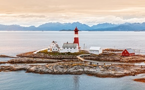 Picture sea, mountains, coast, lighthouse, Norway