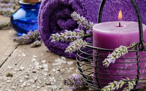 Picture oil, candle, towel, lavender