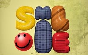 Picture texture, smiley, volumetric letters