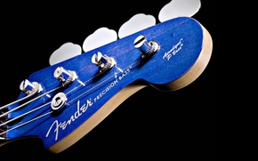 Picture fender, BLUE, BACKGROUND, BLACK, GUITAR, MACRO, GRIF, STRINGS, BASS, PICK, BASS