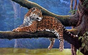 Wallpaper Raymond Reibel, vines, branch, animals, painting, tree, Jaguar, Jaguar, river
