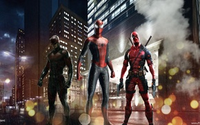 Picture deadpool, spider man, daredevil, Red team