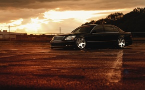Picture Lexus, Front, Black, Color, Sunset, JDM, Stance, Low, LS 430