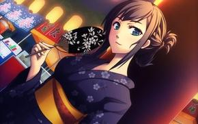 Picture girl, fan, art, kimono, yumemizuki