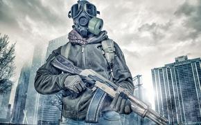Wallpaper the city, machine, gas mask, male, Kalashnikov