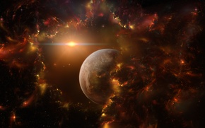 Picture space, stars, lights, fiction, planet