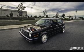 Picture volkswagen, golf, brown, Volkswagen, stance, mk2
