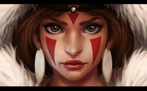 Picture girl, art, mononoke hime, Princess Mononoke, Princess mononoke