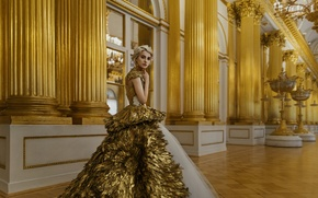 Picture girl, decoration, haircut, portrait, interior, dress, hairstyle, blonde, light, hall, gold, fashion, young, beauty, russian, …