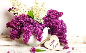 Picture flowers, lilac, spring, purple, vase, bouquet, romance, with love, lilac