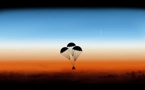 Picture the atmosphere, capsules, Orion, parachutes
