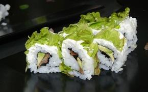 Picture leaves, fish, Japan, Japan, figure, slices, sushi, salad, rolls, seafood, Japanese cuisine, avocado, japan food, …
