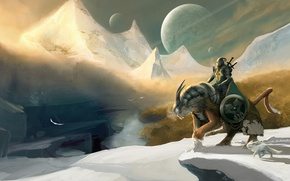Wallpaper snow, mountains, birds, river, weapons, planet, sword, armor, warrior, art, rider, shield, knight, Winter Knight