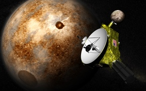 """Picture space, stars, surface, Pluto, automatic interplanetary station, """"New horizons"""""""