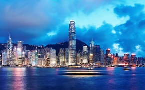Picture sea, the sky, clouds, night, nature, city, the city, lights, lights, river, building, ships, Hong …
