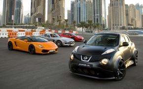 Picture Mercedes-Benz, Ferrari, Nissan, gallardo, lamborghini, Ferrari, Dubai, 458, Mercedes, AMG, Nissan, SLS, Italy, and, supercars, …