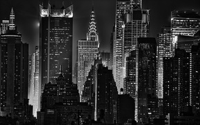 Picture light, night, lights, building, New York, Noir, skyscrapers, The Chrysler building