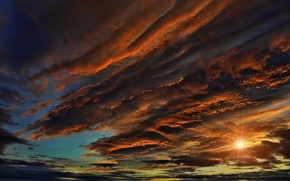 Picture the sky, the sun, clouds, rays, sunset