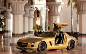 Wallpaper the door, columns, hall, gold, Mercedes AMG SLS63
