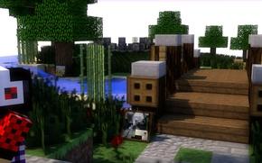 Picture bridge, picture, headphones, Minecraft, minecraft