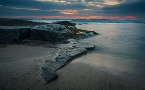 Picture sea, the sky, clouds, sunset, stones, rocks, tide