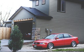 Picture house, Audi, Audi, garage, Subaru, stance